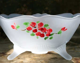 Vintage frosted glass bowl; hand painted bowl; footed bowl; serving bowl; Wedding; bridal shower