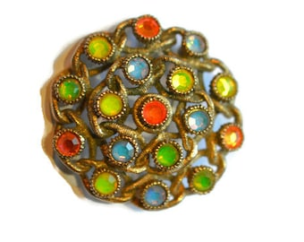 Sarah Coventry iridescent neon rhinestone brooch,  Moon Lites brooch pin signed Sarah Coventry,  colorful brooch pin