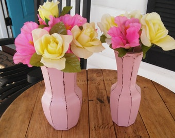 A Vintage Set Of 2 Up-Cycled Pink Vases