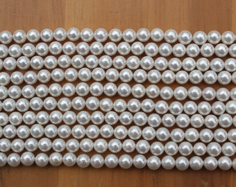 Shell Pearls 4.4-4.5mm & 6.4-6.5mm Rounds - Full Strand