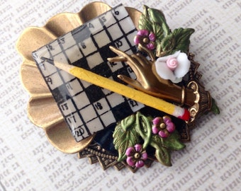 Unique Vintage Crossword Puzzle Brooch