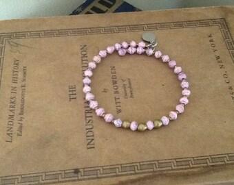 Single Strand Wrap Bracelet, Light Pink & Gold Beading