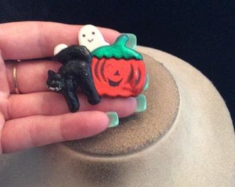 Vintage 3D Halloween Pumpkin Ghost Black Cat Pin