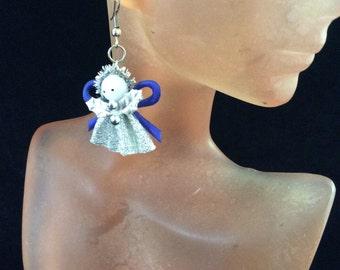 Vintage Blue & Silver Angel Pierced Dangle Earrings