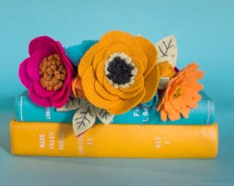 Felt Flower Crown - Fuschia/Mustard