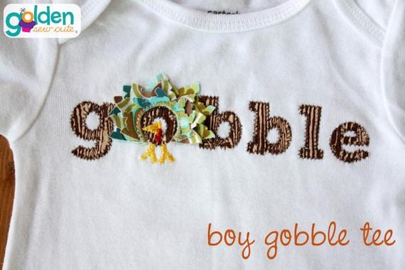 Thanksgiving Gobble Turkey Tee Girl OR Boy!  Turkey with feathers, Tee, Onesie, TShirt, Shirt, Dress or Tutu