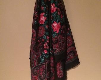 SALE Vintage 80s pink floral scarf