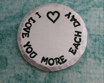 I Love You More Each Day, Wedding Gift, Gift For Him, Pocket Token, Anniversary Wallet Insert, I Love You, Good Luck Charm