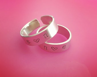 personalized hand stamped custom name ring