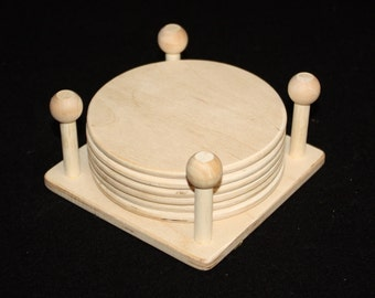 "5"" Square Coaster Holder (Includes 6 coasters),Wood Coasters,Wooden Coasters,Wooden Coaster Holder,Unfinished Wood Coasters,Wood Coaster"