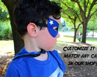 Superhero mask, blue superhero mask, felt mask, costume accessories, birthday outfit, elastic band, kids costume, party favors, blue mask