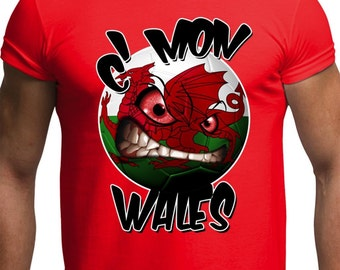 Euros 2016 Come on Wales Welsh Football Team Manics Supporters Mens T Shirt