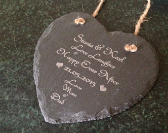Personalised Wedding Engagement Gift Present Anniversary Slate Heart new baby Plaque