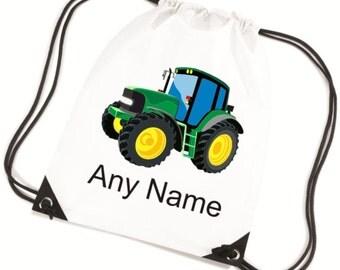 Personalised Childs TRACTOR PE/Swim/School Bag