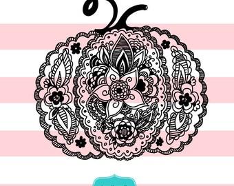 Mandala pumpkin hand drawn  SVG, Halloween Mandala, Mandala clipart, svg files,  ID#DR-hal1