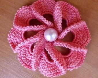 Сrochet brooch -Coton Brooch - Pink brooch - Flower Brooch - Knitted Brooch Handmade Flower Hand-Knitted