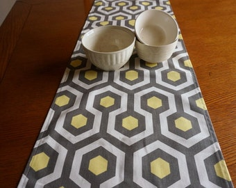 "Citron Yellow and Gray Table Runner - Modern Geometric Premier Print, 60"" Table Runner, Yellow and Gray Decor"