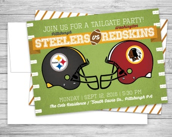Football Tailgate Party Invitations + Envelopes, Gameday, Team, College, Digital or Professionally Printed + SHIPPING INCLUDED
