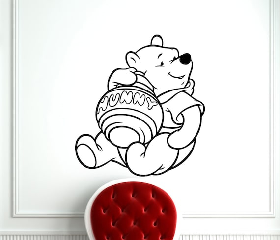 winnie the pooh wall sticker pooh bear with honey pot cartoon rmk1499gm pooh amp piglet giant wall stickers
