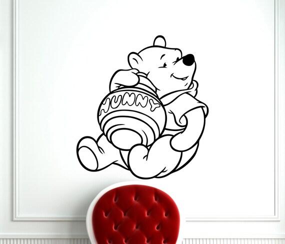 winnie the pooh wall sticker pooh bear with honey pot cartoon pindia singing pooh bear wall sticker by pindia online