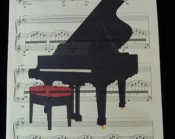 Grand Piano Print on Vintage Music Sheet, piano poster, piano print, piano music, piano art, piano stool, music poster