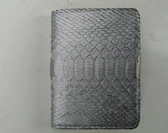 Handmade Python Snakeskin Leather Wallet. MEN'S BIFOLD WALLET. Silver Python Snakeskin Wallet. Free Shipping