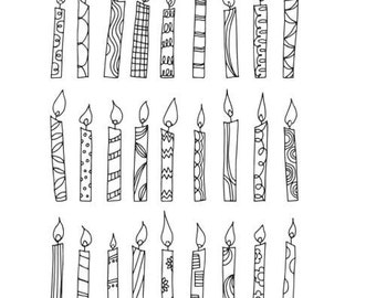 Candles Digital Stamp / Line Art / Birthday / Candles Clipart