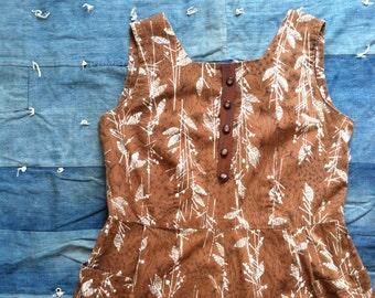 Vintage 1960's Leaf Print Brown Cotton Sun Dress