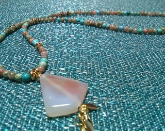 Mind, Body, Spirit Necklace (Turquoise or White)