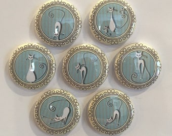 White Cat Magnets - set of 7