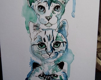 Hand-painted Cats card