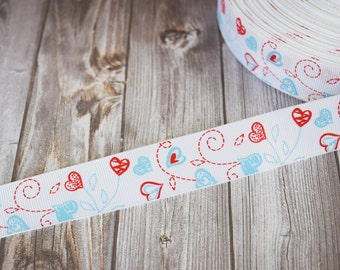 Hearts ribbon - Valentines day ribbon - Valentine bow DIY - 1 inch ribbon - 3 or 5 yard lot - Blue and pink - Swirls and hearts -