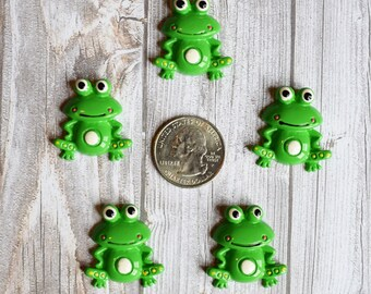 Frog resins - Frog cabochon - Frog prince - Frog bow centers - Hair bow center - Set of 5 - Hair bow supply - I love frogs - Frog crafts