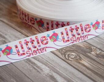"Little sister ribbon - Bird 1"" ribbon - Bow supplies - DIY hair bows - Make your own. 3 or 5 yard lot"