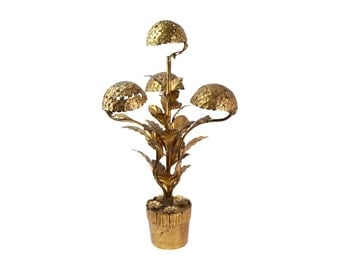 Vintage Mid-Century Italian Gilt Metal Potted Hydrangea Table Lamp