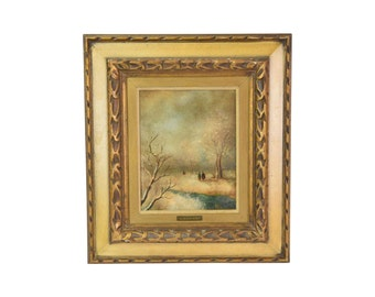 Mariani Vintage Oil Painting Couple Strolling through Winter Woods