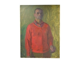 Oil Painting Portrait Sinister Looking Man by Victor Lasuchin Russian American