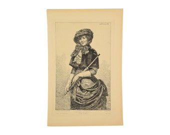 Georges Lehmann 1883 French Etching Portrait Woman with Parasol Bustle Dress