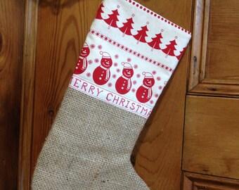 Rustic Christmas stocking, Hessian Gift stocking, hanging Christmas stocking, Nordic Christmas stocking, Christmas decor,