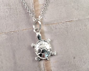 Mini Turtle Necklace, charm necklace,best friend, New mom turtle jewelry, Beach jewelry, gift for her, turtle lover
