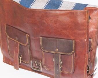 GRADE B. Heathbold Torello. XL full grain leather laptop bag satchel briefcase. Gorgeous tobacco brown. Free balm & delivery (UK).