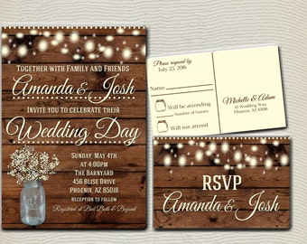 Rustic Wedding Invitation Printable, Country Wedding Invitation, Digital file, Printable, wedding invitation suite, Mason Jar Wedding
