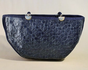 Vintage Blue Reed Bag, Handbag, Shoulderbag, Summer Bag, Shoulderpurse