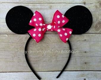Minnie mouse headband, Minnie mouse ears, Pink Minnie mouse birthday ears, Hot pink Minnie mouse headband, Minnie mouse ears for baby girl