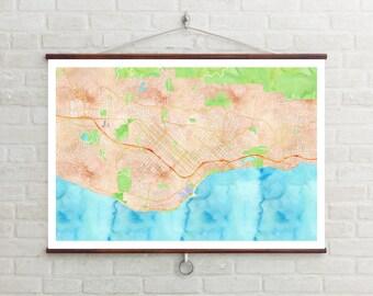 Map of Santa Barbara, Santa Barbara, Santa Barbara art, Santa Barbara map, Santa Barbara print, Santa Barbara decor, Santa Barbara gift