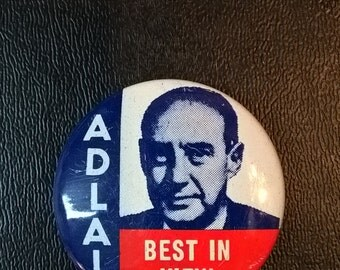 Vintage Adlai Political Button **FREE SHIPPING**