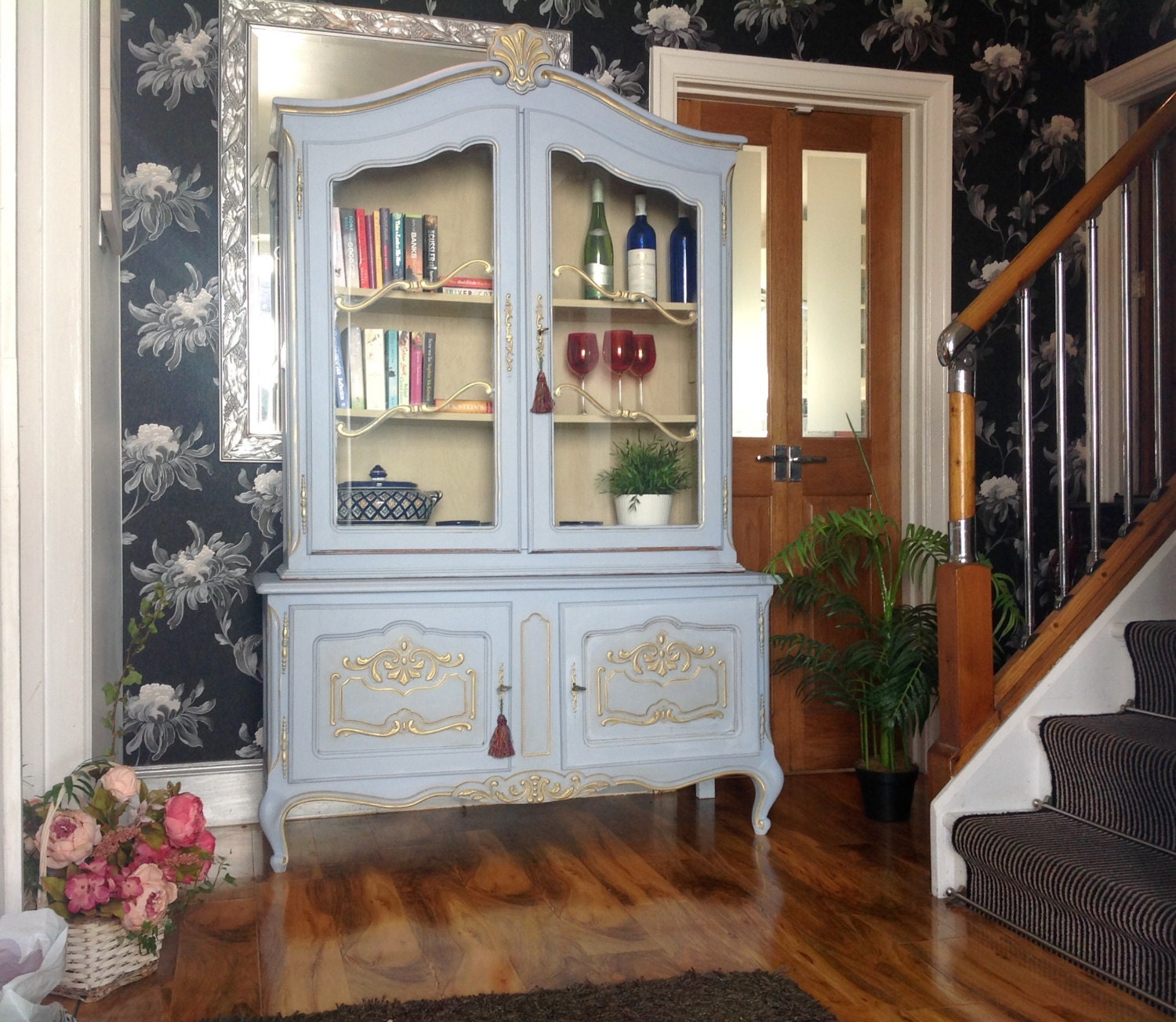 Sold--Carved Vintage Louis Style French Shabby Chic Bookcase Display Drinks  Cabinet Annie Sloan Louis Blue