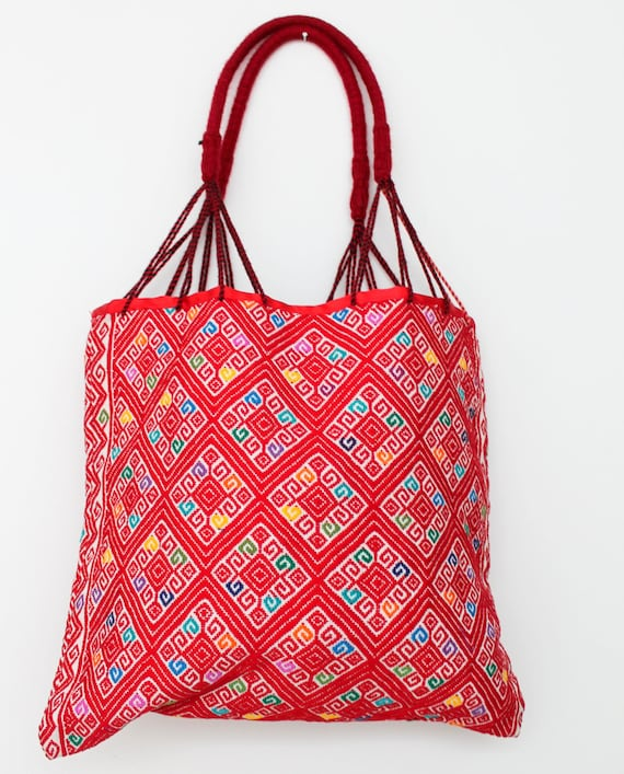 Mexican handwoven bag made in chiapas colorful embroidered
