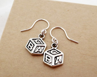 Baby Block Jewelry - Lightweight Baby Earrings - Baby Shower, Party Gift, Expectant Mother Gift