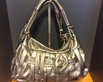 Large Hobo Handbag - Pewter Metallic